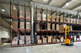 This is a picture of a forklifter in a warehouse.